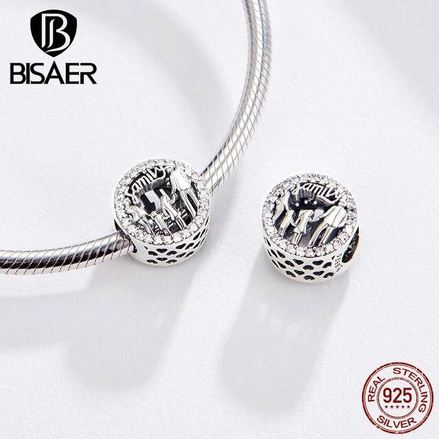 Bisaer família encantos 925 prata esterlina minha família contas apto para zircão cúbico pulseiras de prata 925 jóias fazendo ecc1184