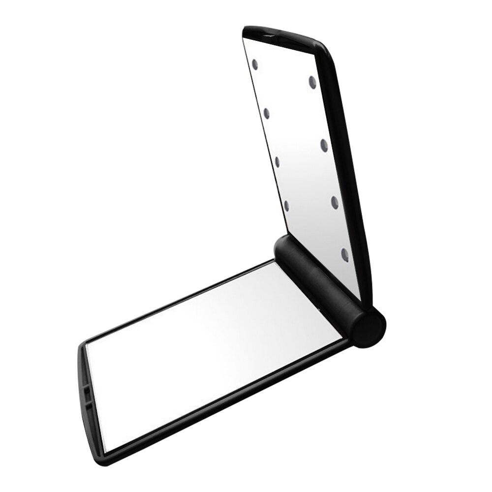 Макияж Зеркала настольное зеркало лампа домашний декор косметические портативные зеркала светящиеся - Цвет: black