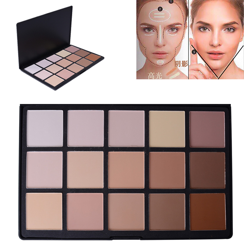 15 Color Palette Face Powder <font><b>Contour</b></font> Makeup Palette Matte Bronzer Pressed Powder Foundation Concealer Camouflage Highlighter