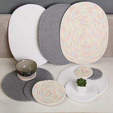 Hand-woven Cotton Dining Table Mat Thicker Heat-proof Cushion Home Kitchen Coasters Bowl Fashion Decoration Practical Mats