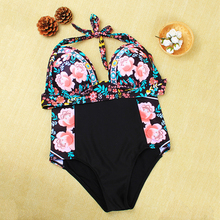 New Floral High Waist Halter Sexy Bikini Set 2017 Beach Women Swimsuit Triangle Swimwear Female Cheap Patchwork Bathing Suit