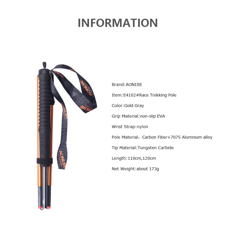 Image 2 - AONIJIE E4102 M Pole Folding Ultralight Quick Lock Trekking Poles Hiking Pole  Race Running Walking Stick Carbon FiberWalking Sticks   -