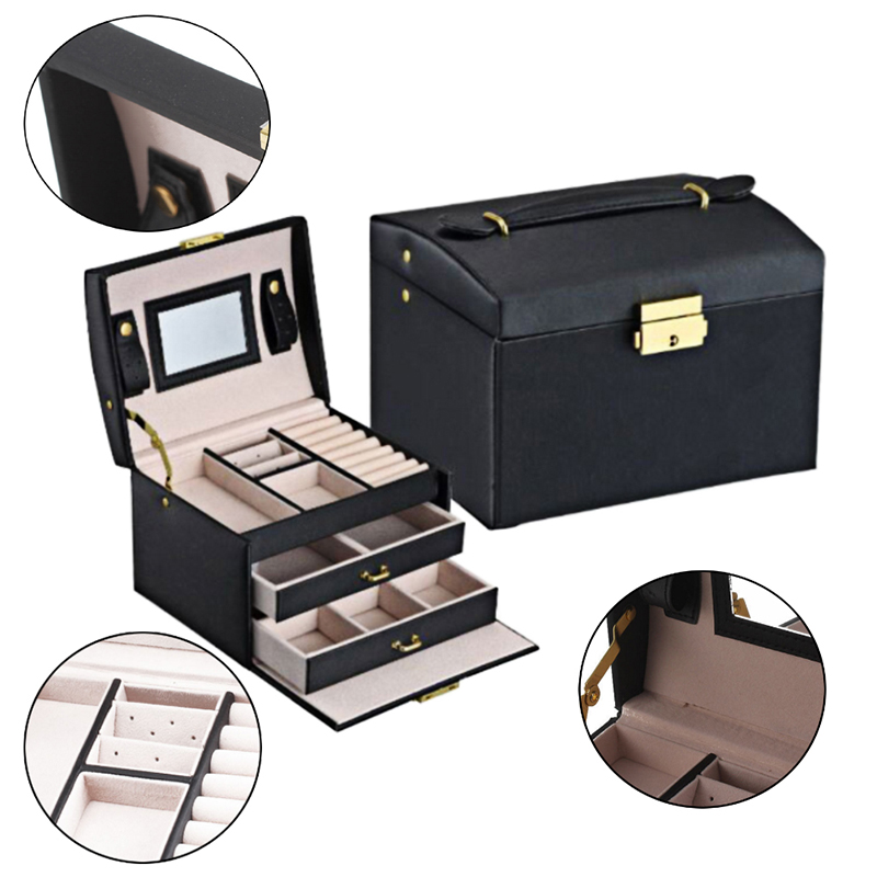 2019 New 1 Pcs Three-Layers Jewelry Box Leather Two Drawer Storage Box Organizer Home Gifts Three Colors Optional Cases Displays