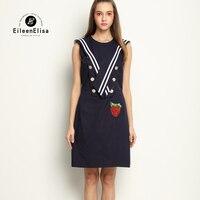 2017 luxus Designer Frauen Kleider Dunkelblauen Kleid Elegante Marke Berühmte Frauen Kleid