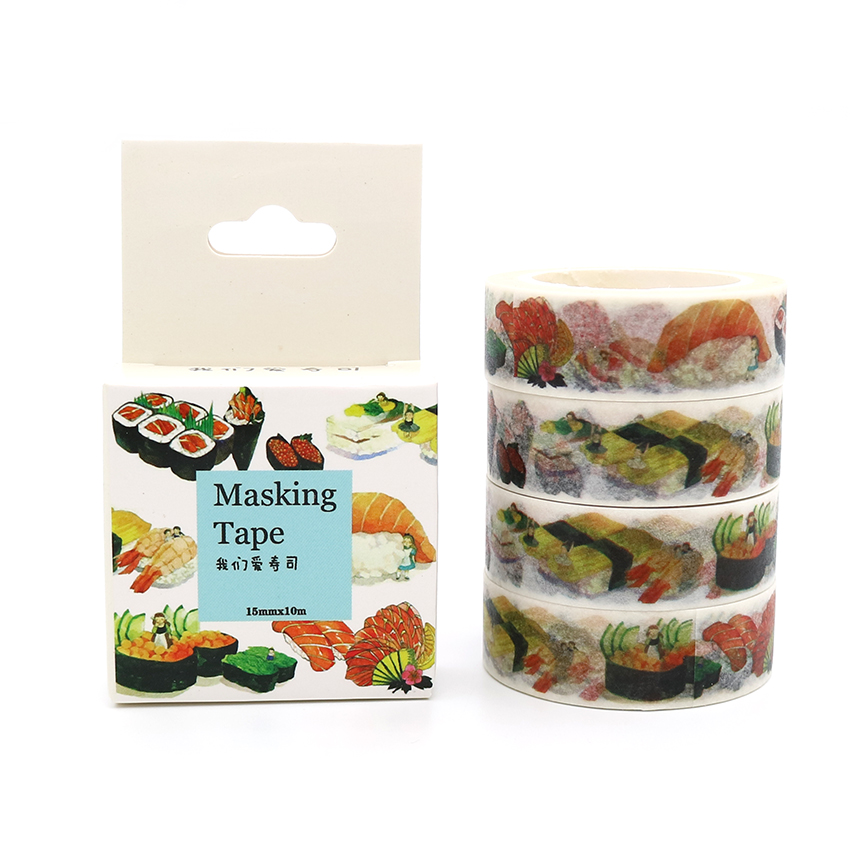 Box Package Delicious Sushi Washi Tape Masking Tape Decorative Scrapbooking Office Adhesive DIY Sticker Label Tape 10m*15mm