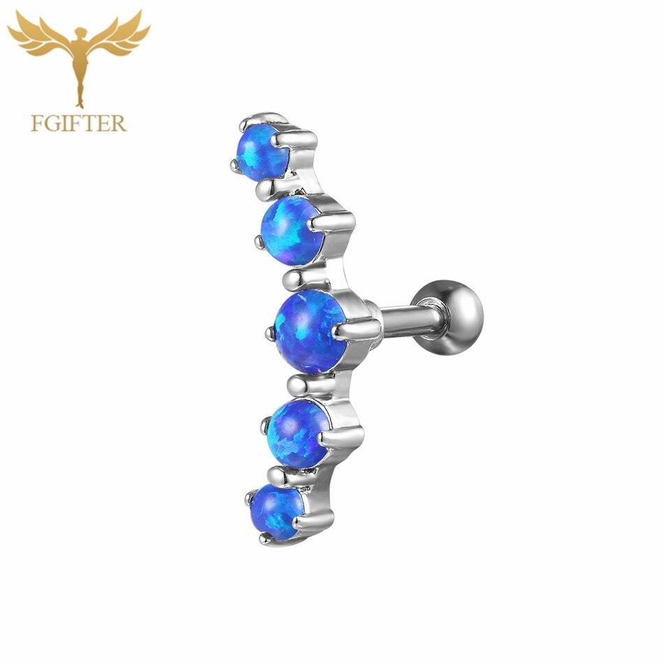 FGifter Blue Opal Stone Ear Tragus Helix Cartilage Piercing Rings 16G G23 Titanium Zircon Labret Studs Piercing