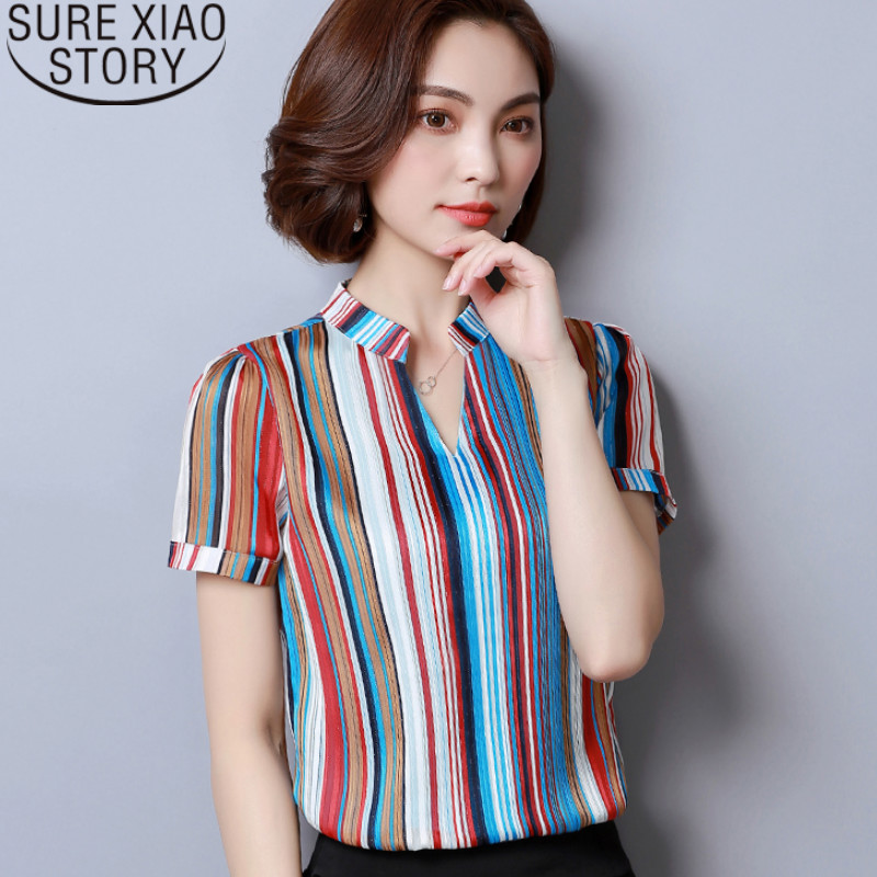 Fashion elegant women's shirts women 2019 harajuku shirt Appliques Short Chiffon tshirt