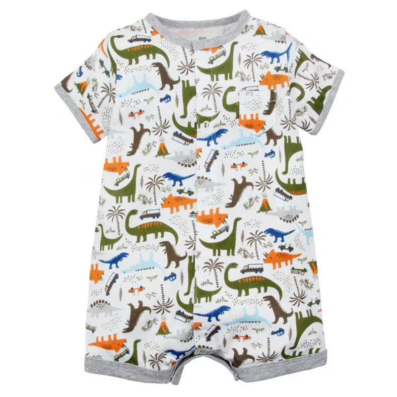 2018 Newborn Baby Boys Girls Boxer Rompers kid Clothes Short Sleeve Infant bodysuits boat dinosaur appliques one-piece
