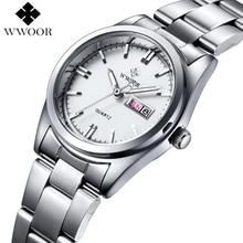 Mulheres de luxo Da Marca Relógios Das Mulheres de Quartzo Data Analógico relógio de Aço Inoxidável Das Senhoras de Prata do Relógio de Pulso Casual Relógio Feminino Montre Femme