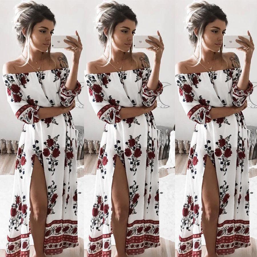 Señoras de las mujeres ropa dress partido de la flor de flores de gasa de manga