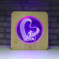 Love Heart 3D Night Light LED 3D Illusion Wood Grain Table Lamp Romantic Party Atmosphere Lamp For Wedding Decor Lover's Gift