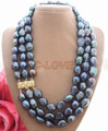 Rare Big 15mm Black Baroque Pearl Necklace  free shippment