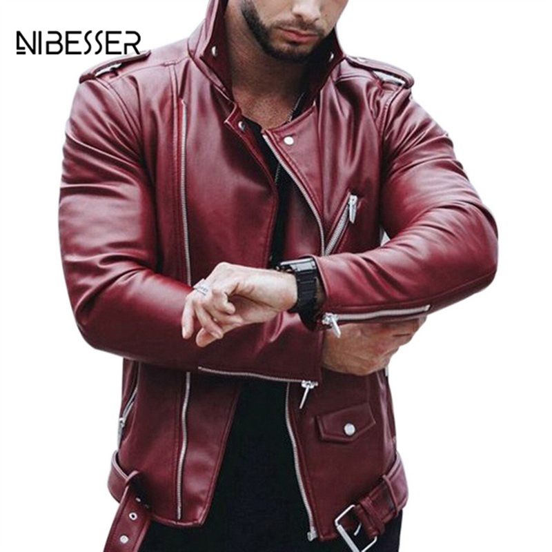 NIBESSER Large Size Spring Men's Slim Leather Jackets And Autumn Men's Fashion Collar Zipper Imitation Leather Coat Motorcycle