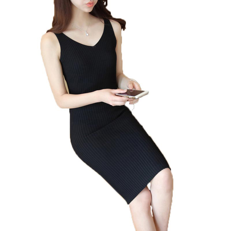 2017 spring and summer elegant women dress high quality solid sexy slim sleeveless V-neck knitted dress for female PW1045 женское платье summer dress 2015cute o women dress