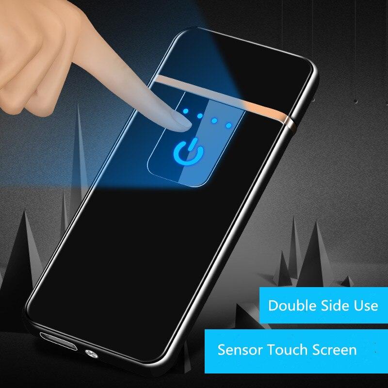 Ultra-dünne Fingerprint Touch Sensor Zigarette Leichter Wiederaufladbare USB Metall Pulse USB feuerzeuge Flammenlose Feuerzeuge