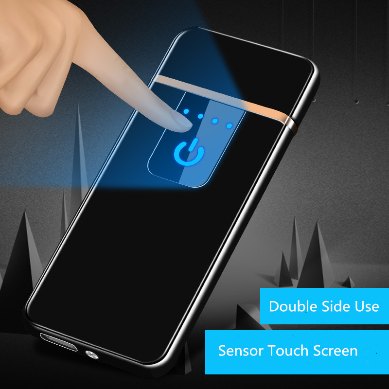 Ultra-dunne Vingerafdruk Touch Sensor Sigarettenaansteker Oplaadbare USB Metalen Pulse USB aanstekers Vlamloze Aanstekers