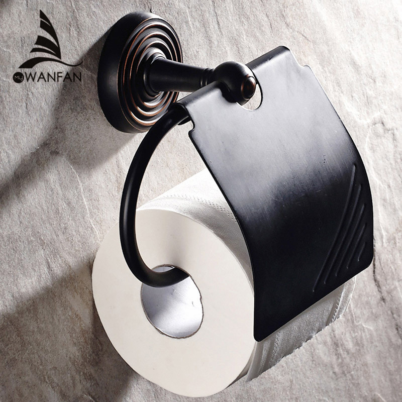 Paper Holders Wall Mounted Solid Brass Roll Tissue Holder For Paper Towel Bathroom Accessories Black Toilet Paper Holder HJ-1208 gold crystal wall mounted toilet paper holders brass wc roll paper tissue basket bathroom accessories