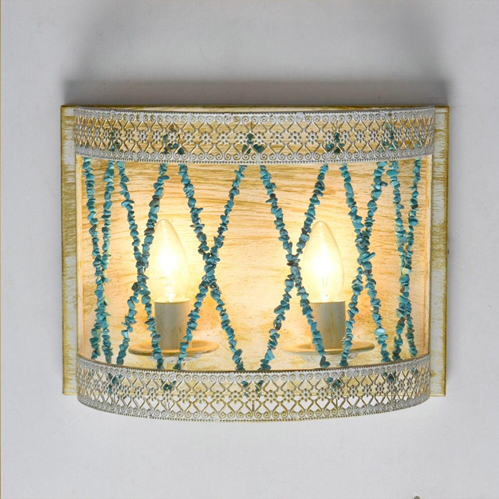 Modern Vintage E14 Nordic Decor Blue Gravel Led Wall Light for Home Corridor Staircase Bathroom Bedroom Dining Room Loft Lamp