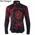 AlexNamgyal 2016 Camisas de Los Hombres Para Hombre de Esmoquin De Lujo Casual Camisa de Marca Para Hombre Rojo Cráneo de Impresión de Manga Larga Camisas Del Diseñador AL86