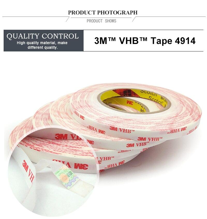 3 М VHB 4914 с двойным покрытием акрил высокого липкая клейкая лента с двумя часовыми поясами(вспененная)/12 мм* 33 см