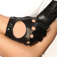 Half Finger Fashion Genuine Leather Men Goatskin Gloves Wrist Short Classic Black Breathable Sheepskin Driving Glove