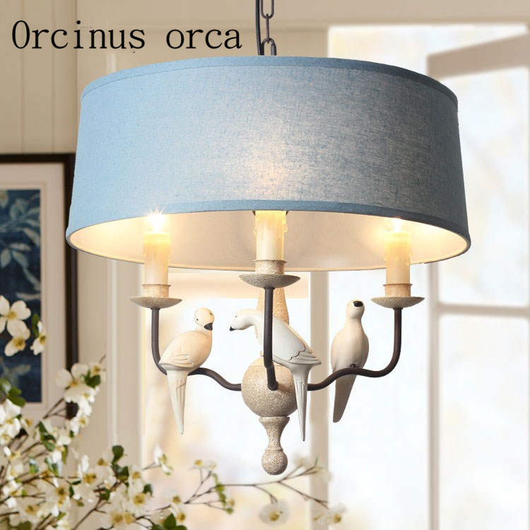 American country Bird Pendant lamp living room bedroom dining room study Nordic simplicity warm resin Chandelier free shipping