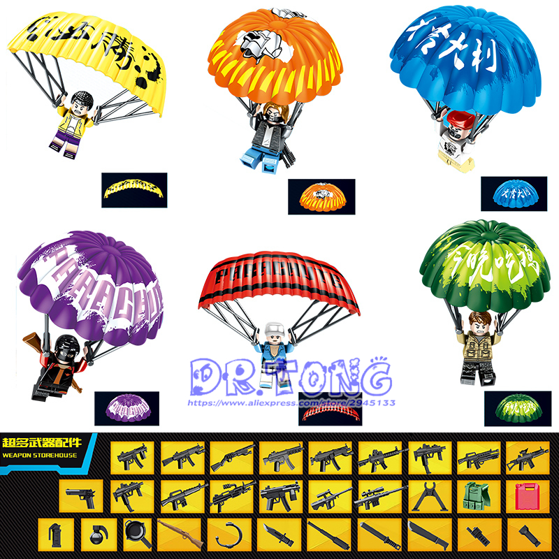 60PCS PUBG Game LegoINGly Building Blocks Army Weapon Military Parachute Winner Winner Chicken Dinner Bricks Children Toys D219 цена 2017