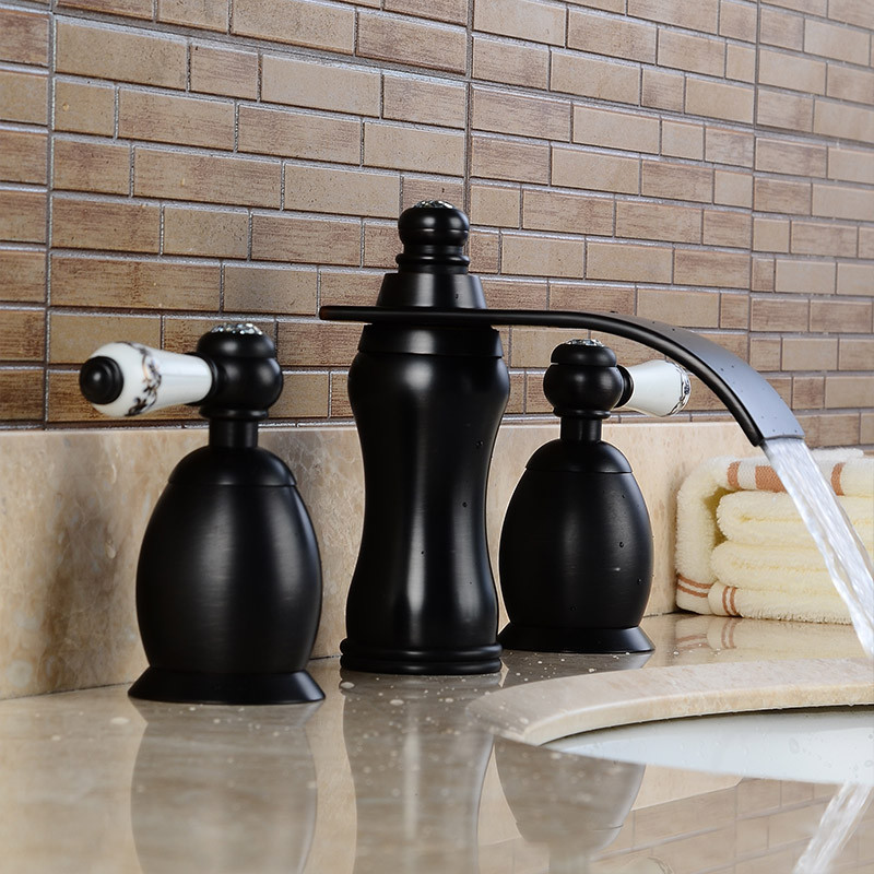 Basin Faucets Gold Bathroom Sink Crane 3 PCS / Hole Black Crystal Home Decoration Vanity 2 Switch Handle Washbasin Tap LH-16845Basin Faucets Gold Bathroom Sink Crane 3 PCS / Hole Black Crystal Home Decoration Vanity 2 Switch Handle Washbasin Tap LH-16845