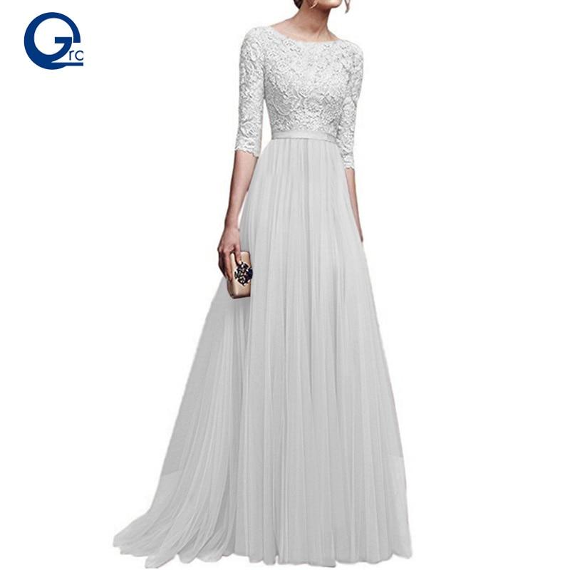09dde922e2 Comprar Largo Boho blanco vestido de fiesta de verano de las mujeres  elegante Floral Maxi plisado de encaje vestidos longitud piso Chiffon  vestido de fiesta ...