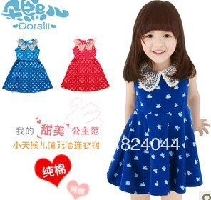 Han edition vest in the summer of 2013 girls dress little swan printed cotton collar sleeveless dress summer dress the doll
