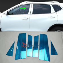 цены Car Accessories Exterior Decoration Stainless Steel Window Centre Pillars Cover Molding Trim For Nissan X-Trail 2014 Car-styling