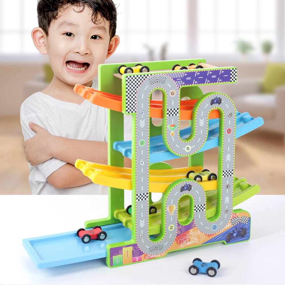 High Quality Ramp Racer Car Game Educational Toy Building Blocks Racing Track Toy Car with Parking Lot for Kids