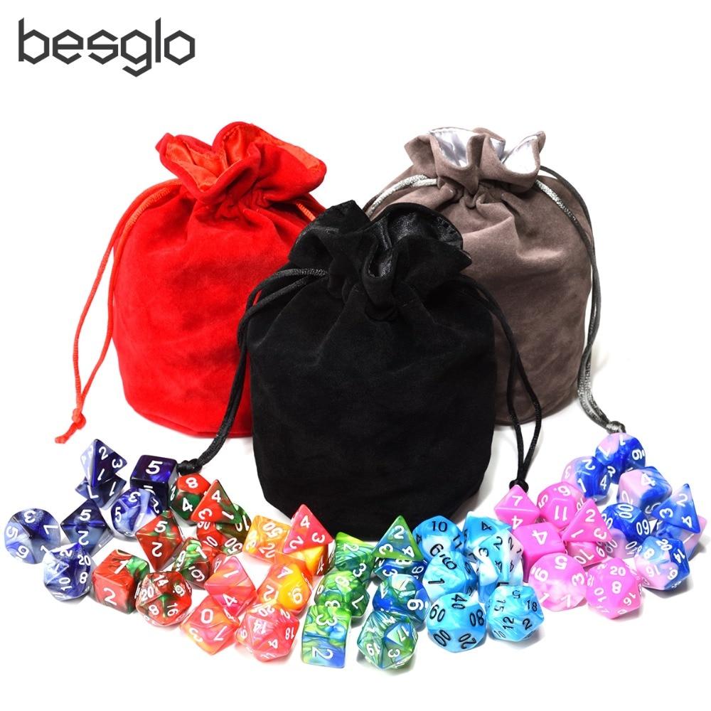 49 stücke Doppel Farbe Polyhedral DnD Würfel mit 1 stücke Big Kordelzug Tasche für Tabletop RPGs D4 D6 D8 D10 D % D12 D20