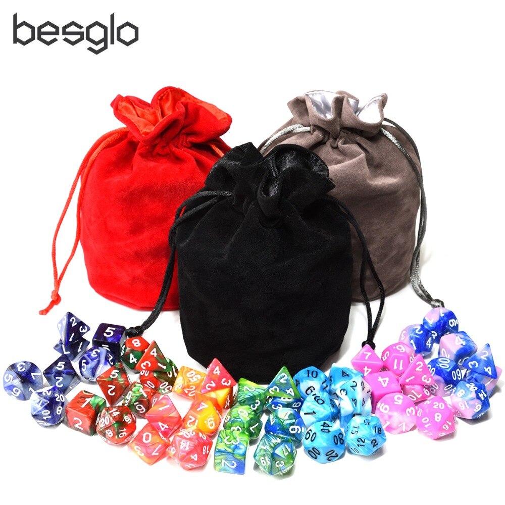 49pcs Double Color Polyhedral DnD Dice With 1pcs Big Drawstring Bag For Tabletop RPGs D4 D6 D8 D10 D% D12 D20
