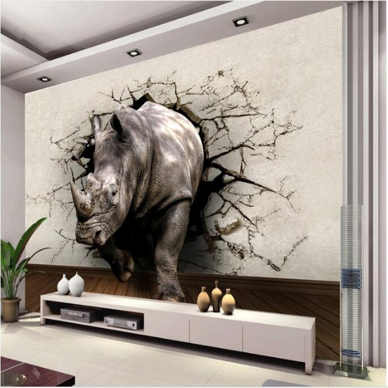 Can Be Customized Large Scale Mural 3d Wallpaper Wall: Beibehang Custom Large Scale Murals 3D Stereo Rhino Broken