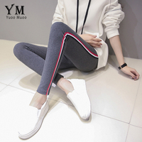 YuooMuoo Spring Autumn New Women Bottom Trousers Large Size Cotton Korean High Waist Stripe Ankle Length