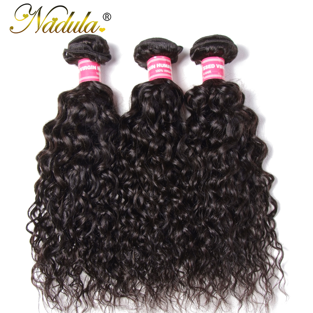Nadula Black-Color Water-Wave 3-Bundles 100%Human-Hair Malaysian Hair-Extensions Weaves title=