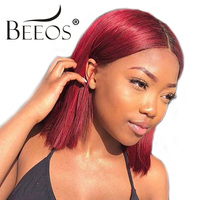 Beeos Red Lace Front Human Hair Bob Wigs with Baby Hair Human Hair Wig For Women Brazilian Remy Hair Pre Plucked