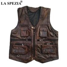 LA SPEZIA Genuine Leather Vest Men Brown Waistcoat Male Sleeveless Jacket Thick Photographer Motorcycle Multi Pocket Zipper