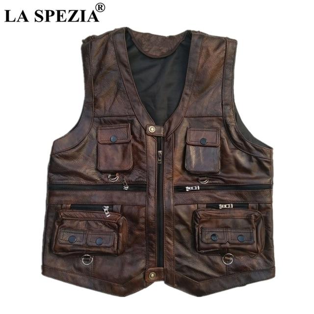 LA SPEZIA Genuine Leather Vest Men Brown Waistcoat Male Sleeveless Jacket Thick Photographer Motorcycle Vest Multi Pocket Zipper