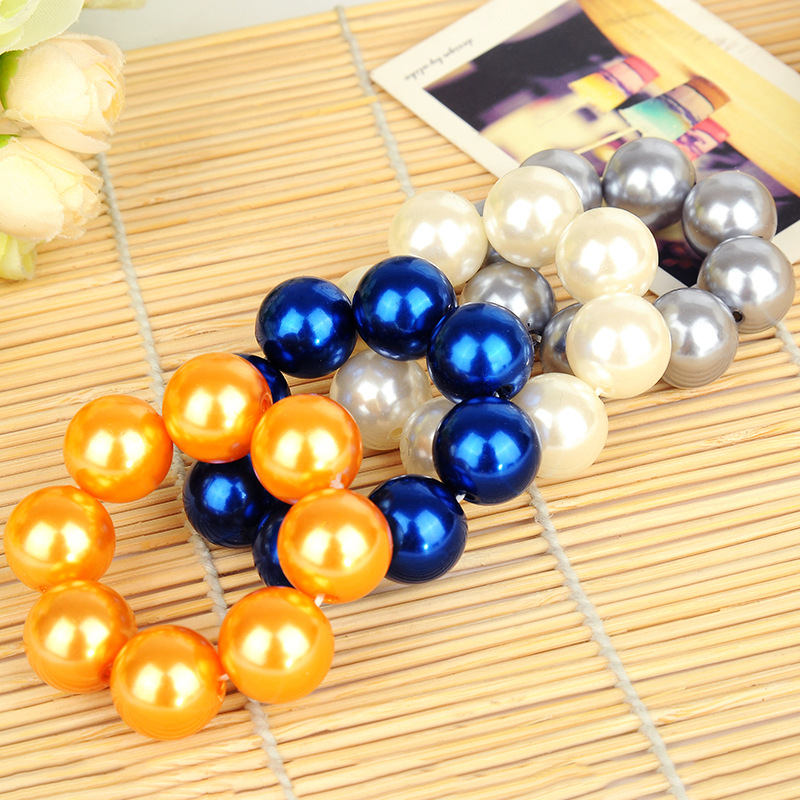 New Elegant Exaggerated Concise Hair Band Large Size Pearl Elastic Rope Women Bride Wedding Hair Accessories in Women 39 s Hair Accessories from Apparel Accessories