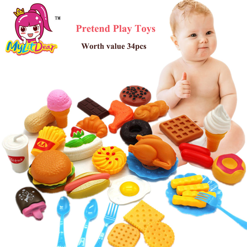 MylitDear 34pcs Kids Kitchen Toys for Girls Plastic Drink Food Kit Kat Pretend Play Early Education Toy For Children