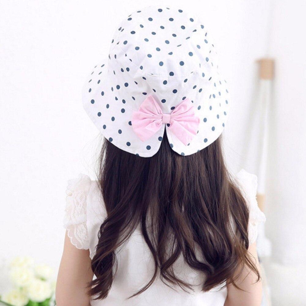 Cute Baby Girls Polka Dot Bowknot Hats 2018 Children Fashion Beach Bucket Beanies Caps Kids Cotton Outdoor Sun Protection Hat