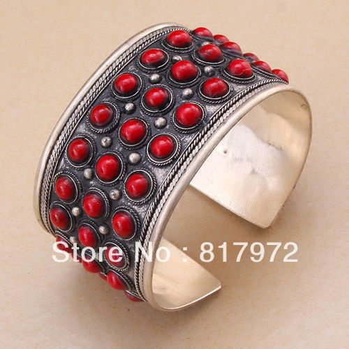 Hot Fashion Red Coral more bling beaded inlay tibet silver cuff bracelet quality Adjustable Party Gift &6YB00033