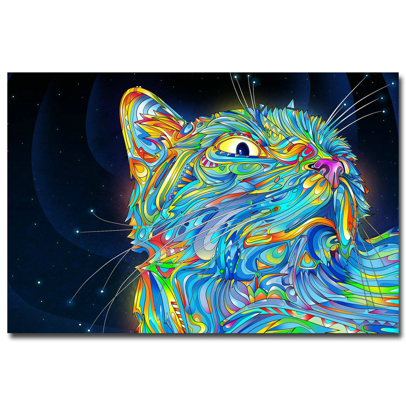 psychedelic trippy cat art silk canvas poster print 13x20 24x36 inch