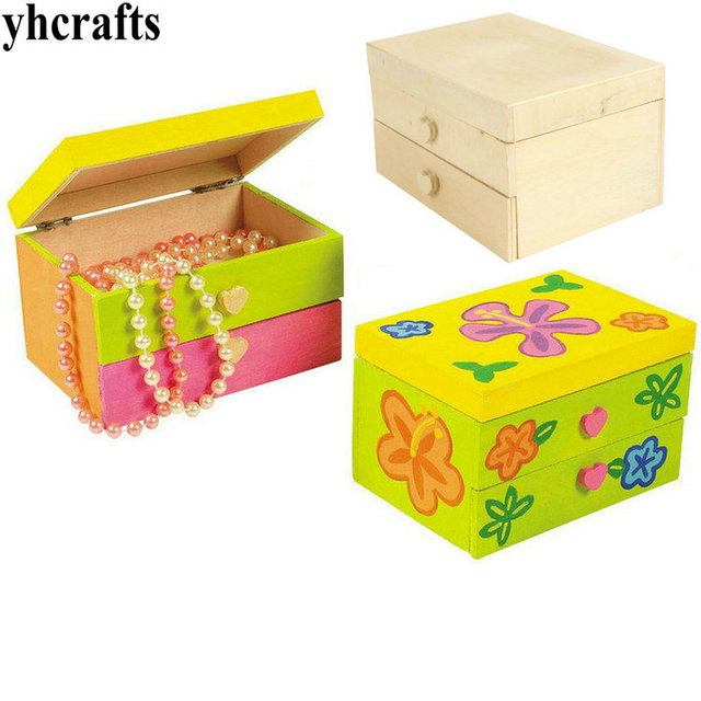 4PCS/LOT.Paint unfinished wood box Jewel case 12.5x9x7cm Paint DIY toys Early learning educational Kindergarten arts and crafts