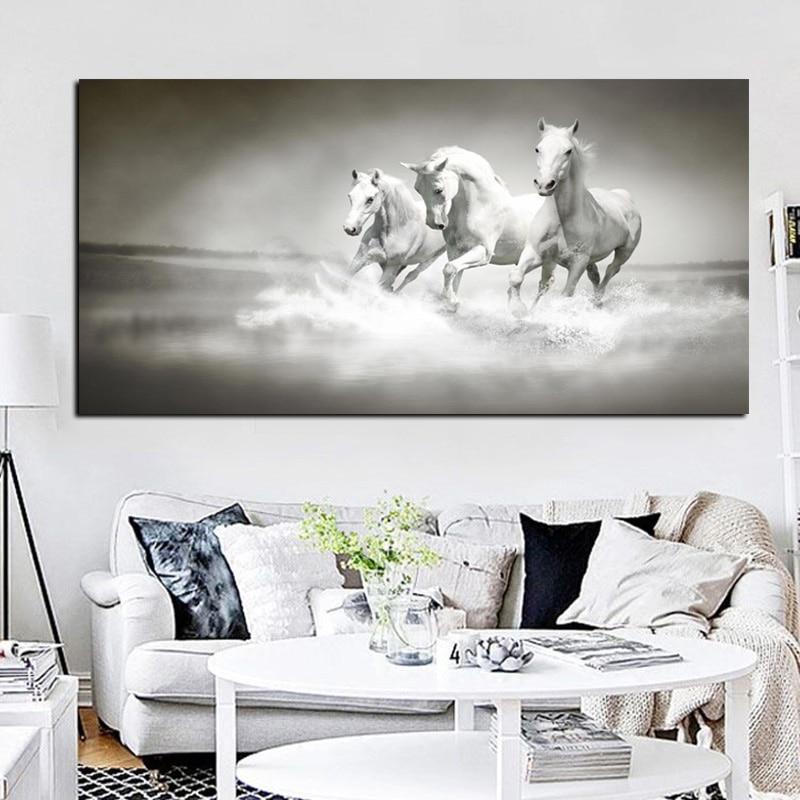 Nowoczesne białe konie biegną w obrazie olejnym rzeki HD Drukuj na - Wystrój domu - Zdjęcie 5