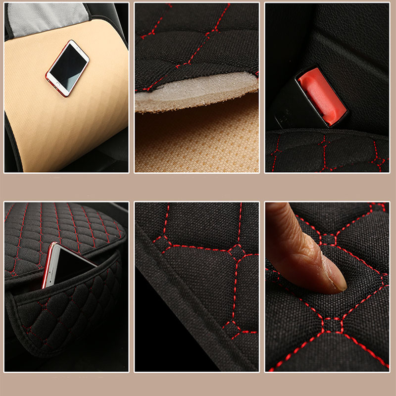 Image 4 - Flax Car Seat Cover Protector Front Rear Seat Back Cushion Pad Mat with Backrest for Auto Automotive interior Truck Suv or Van-in Automobiles Seat Covers from Automobiles & Motorcycles