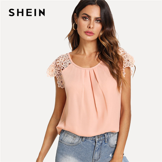 5ea526f40bebd SHEIN Floral Lace Cap Sleeve Pleated Top Pink Scoop Neck Short Sleeve Women  Plain Blouse 2018
