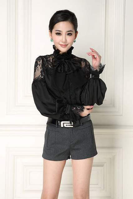9534364bdb1af New Arrival Women Blouses Sexy Sheer Lace Patchwork Elegant Bow Collar Long  Sleeve Black White Shirt Tops Office